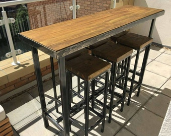 Handmade Bespoke Outdoor Indoor Modern Industrial Long Narrow Bar Table And  Stools   Custom Made