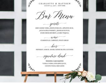 Wedding Bar Menu Sign, Calligraphy Dinner Menu Poster, Buffet Menu Printable, 100% Editable Template, Instant Download, Templett #034-105LS