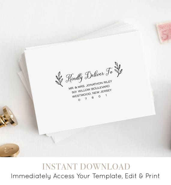 Envelope Template, DIY Printable Rustic Wedding Envelope Template, Calligraphy, Instant Download, Editable Address, 100% Editable #027-110EN