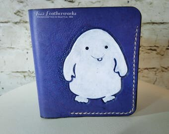 Leather wallet, bi-fold with bill slot, hand made, hand stitched, Dr Who inspired, Adipose - Made to Order