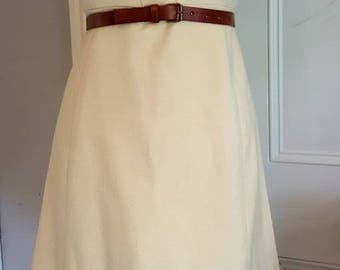 Fifties dress, vintage clothing, size10, cream dress, wool, Peter Barron