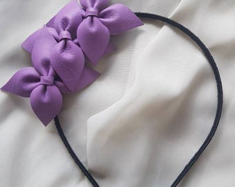 Lilac genuine leather side flower crown / headband / fascinator, ideal for a bride / bridesmaid / flower girl, or the races