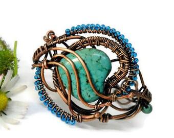 Turquoise Copper  Wire Wrapped bracelet, Copper wire bracelet, Copper wire cuff, Rustic copper bracelet, Wire wrap bracelet womens