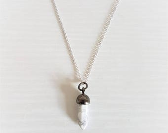Miniature Healing Stone Crystal Necklace in 16k Silver/Marble
