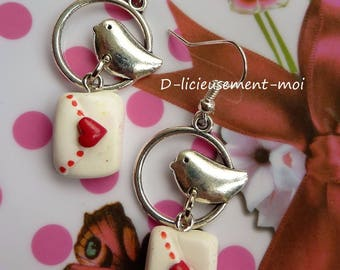 Medium sterling silver earrings 925 bird wearing his love letter with heart polymer clay