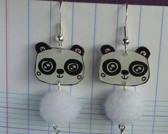 Earrings in sterling silver 925 panda kawaii crazy crazy plastic painted by hand and white tassel
