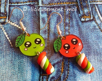Earrings silver sterling 925 Apple green and Red kawaii crazy crazy plastic handpainted Marshmallow Fimo polymer clay