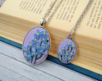 Mother Daughter necklace set Forget me not necklace Embroidered jewelry Blue necklace Embroidery jewelry gift for mom Flower necklace