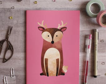 NOTEBOOK. A5 Cute Deer Notebook. Soft 300 gsm Card Cover. 40 lined pages. Matte lamination pleasant to the touch.