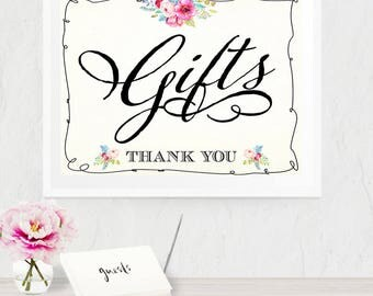 Gifts Floral Poster - INSTANT DOWNLOAD - Printable Wedding Sign, Thank you, Watercolor, Reception, Decoration, Bridal Shower
