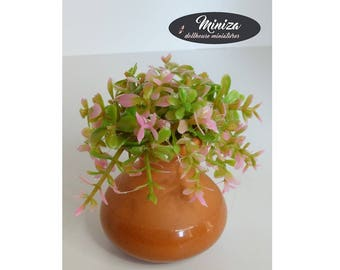 Lovely tiny flowers in ceramic pot, 1:12 scale