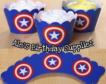 24 Pc Captain America Cupcake 12 Wrappers & 12 Toppers PARTY BIRTHDAY SUPPLIES