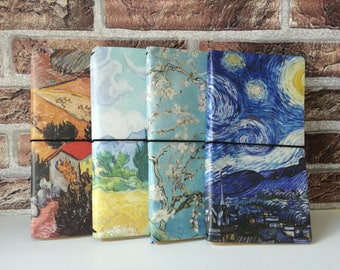 Traveler's Notebook with Van Gogh Paintings, made from Fake Leather
