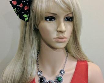 Cherry Bow Headband, Pin up girl Headband, Large Cherry Bow Headband, Retro Headbands, Cherries hairband, Interchangeable Headband