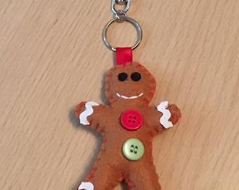 Gingerbread Man Bag Charm, Gingerbread Man Keyring, Gingerbread Man Key Ring, Felt Gingerbread Man, Gift for Her, Cute Gingerbread Man