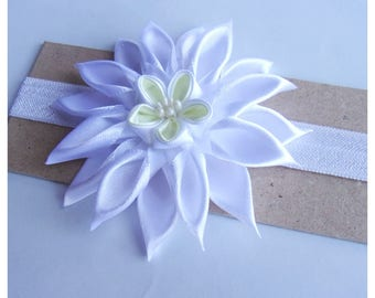 Kanzashi Headband for little girl/Baby's Headband for Christening First Communion Wedding Birthday Shooting/by bricoartkam