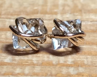 LARGE Herkimer Diamond Studs, Herkimer Diamond Earrings, Herkimer Studs, Gold Filled, Rose Gold, and Sterling Silver Setting
