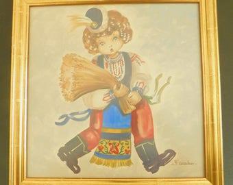 Vintage F. Gardner Watercolor Print Framed Under Glass, Florence Gardner, Norwegian Girl, Curly Hair, Beret, Shock of Wheat, Black Boots