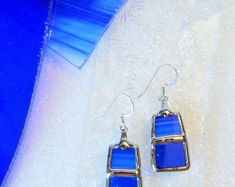 """Stained glass"" blue earrings"