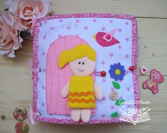 Fabric dollhouse Quiet book, Summer Party, Travel dollhouse, Felt Portable Dollhouse, Felt Doll, Dress Up Doll, Felt Paper Doll Unpaper Doll
