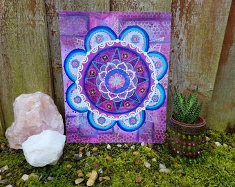 Purple mandala painting - mandala art - Mixed media painting -Boho home - yoga art - wall art