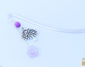 Bookmark featuring a tree, flower and Pearl