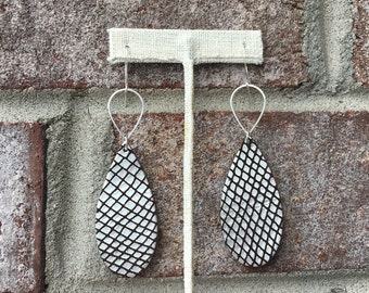 Leather Earrings/ Lightweight/ Teardrop Leather/ Silver Leather/ Metallic Leather