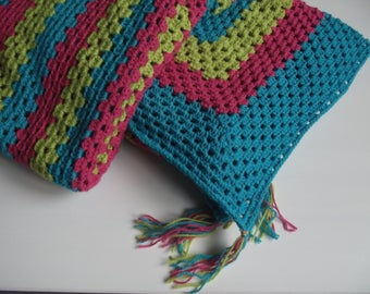 large crocheted pink/blue/green plaid
