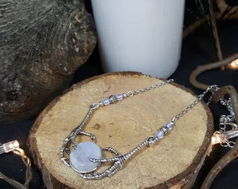 Claws Moonstone necklace - gem stone - Goth - steampunk - bird - Crow - clutches - Voodoo - Ouija board - Ravenclaw - ravenclaw
