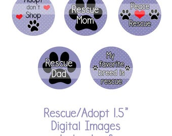 """1.5"""" Rescue/Adopt Collage Sheet Instant Download Adopt don't Shop, Dog Rescue, Shelter Dogs"""