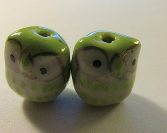 "Lime Green Ceramic Baby Owl, 1/2"", Set of 2"
