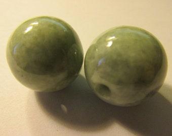 Whitish Green Jade Ball Beads, 17mm, Set of 2