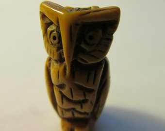 Carved Bone Owl Focal Bead,1""