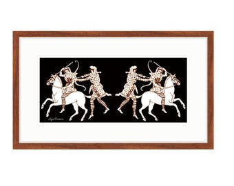 """Amazons On The Move, framed print of Liza Cowan artwork. 16"""" x 26"""" Ready to hang. Free shipping in US."""