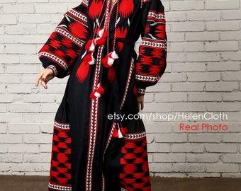 Ukrainian Vyshyvanka Embroidered Linen Dress Boho Style Kaftan Ukraine National Clothing Mexican Birds Pattern rty
