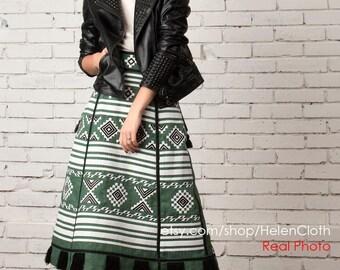 Boho Skirt With Pockets Pattern Embroidered Custom Bohemian High Waisted Midi Mexican Vyshyvanka Linen Geometric Custommade Ukrainian rty