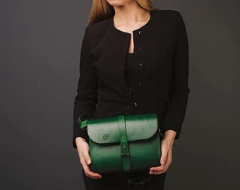 Leather bag CAREY, Green Woman Leather Bag, Handcrafted, Handstitched, Handpainted, Leather Handbag, Leather Shoulder bag