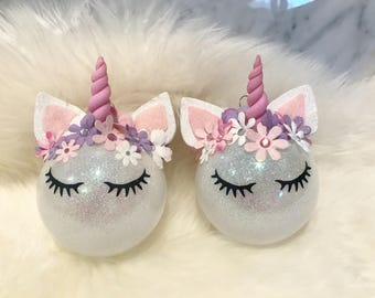 DUO SET Unicorn Ornament, Ornament Felt, Ornament Ball, Family Holiday, Tree Decoration, Baby's First Cute Girly Decoration