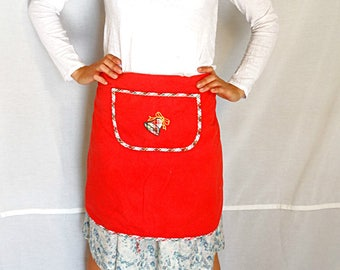 Red Christmas apron kitchen baking wraparound christmas bell cotton apron vintage