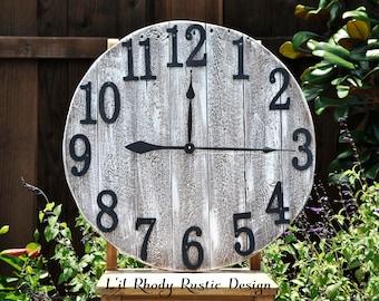 Clock- Farmhouse Clock- Reclaimed Wood Clock- Large Wood clock- Wall Clock- Rustic Clock - Number Clock-  Round Clock