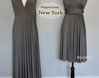 Charcoal Gray infinity dress, convertible dresses, twist wrap dress long, party dress short sleeveless infinity dress