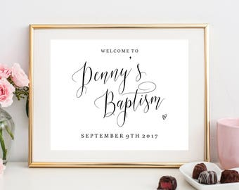 Personalised Baptism Welcome sign, Baptism, printable, calligraphy, custom baptism sign, LDS baptism sign, calligraphy