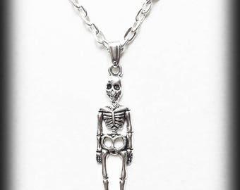 Skeleton Charm Necklace, Silver Skeleton Pendant, Alternative Jewelry, Handmade Necklace, Halloween Jewelry, Gothic Jewelry, Creepy Cute