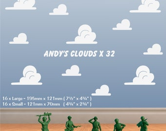 CLOUDS Wall Sticker Andy's Toy Story Girls Boys Bedroom Vinyl Art Decal x 32 *20 colours*