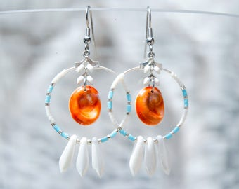 Earring Hoops PHEBE Blue and white - Earring Hoops Creoles - Eye of Santa Lucia