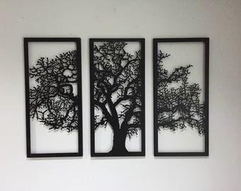 metal wall art decor 3d sculpture 3 piece tree brunch modern. Black Bedroom Furniture Sets. Home Design Ideas