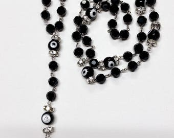 Evil Eye Black Rosary with Hamsa Hand