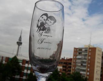 Glass of cava, photo-etched