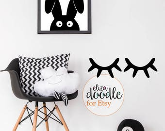 Sleepy eyes wall stickers / closed eyes wall decal / lashes nursery decor / children's blinking wall sticker / removable wallpaper