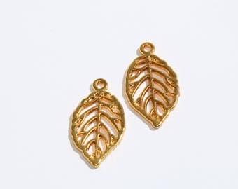 Gold Leaf Charms, Leaf Beads, Leaf, Leaf Pendant SKU/KDR55